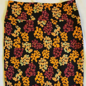 LulaRoe M Cassie Skirt Flowers Black Orange Red